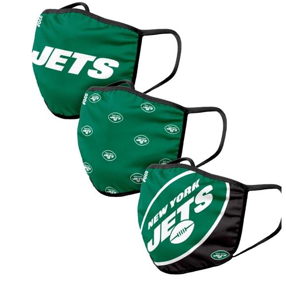 NFL Licensed New York Jets Set of 3 Face Masks